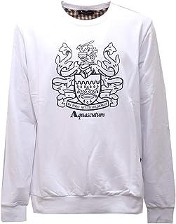 Aquascutum 2601AE Felpa Uomo White Cotton Sweatshirt Man