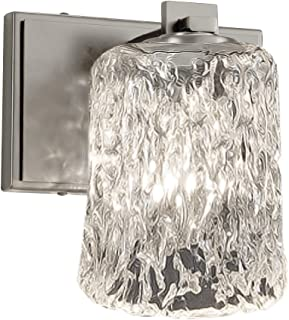 Justice Design Group Lighting GLA-8441-16-CLRT-NCKL-LED1-700 Veneto Luce Era LED 1-Light Wall Sconce-Brushed Nickel Finish with Clear Textured Venetian Glass Cylinder with Rippled Rim Shade
