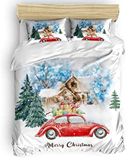 CHAOGO Bedding Duvet Cover Set King Size,Snow Winter Watercolor Red Truck Carrying Xmas Gifts Floral Bedding Set Ultra Soft Hypoallergenic Microfiber for Men and Women