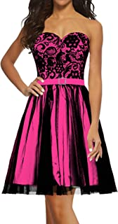 Women's Black Tulle Lace Evening Prom Dress Short Party Dress
