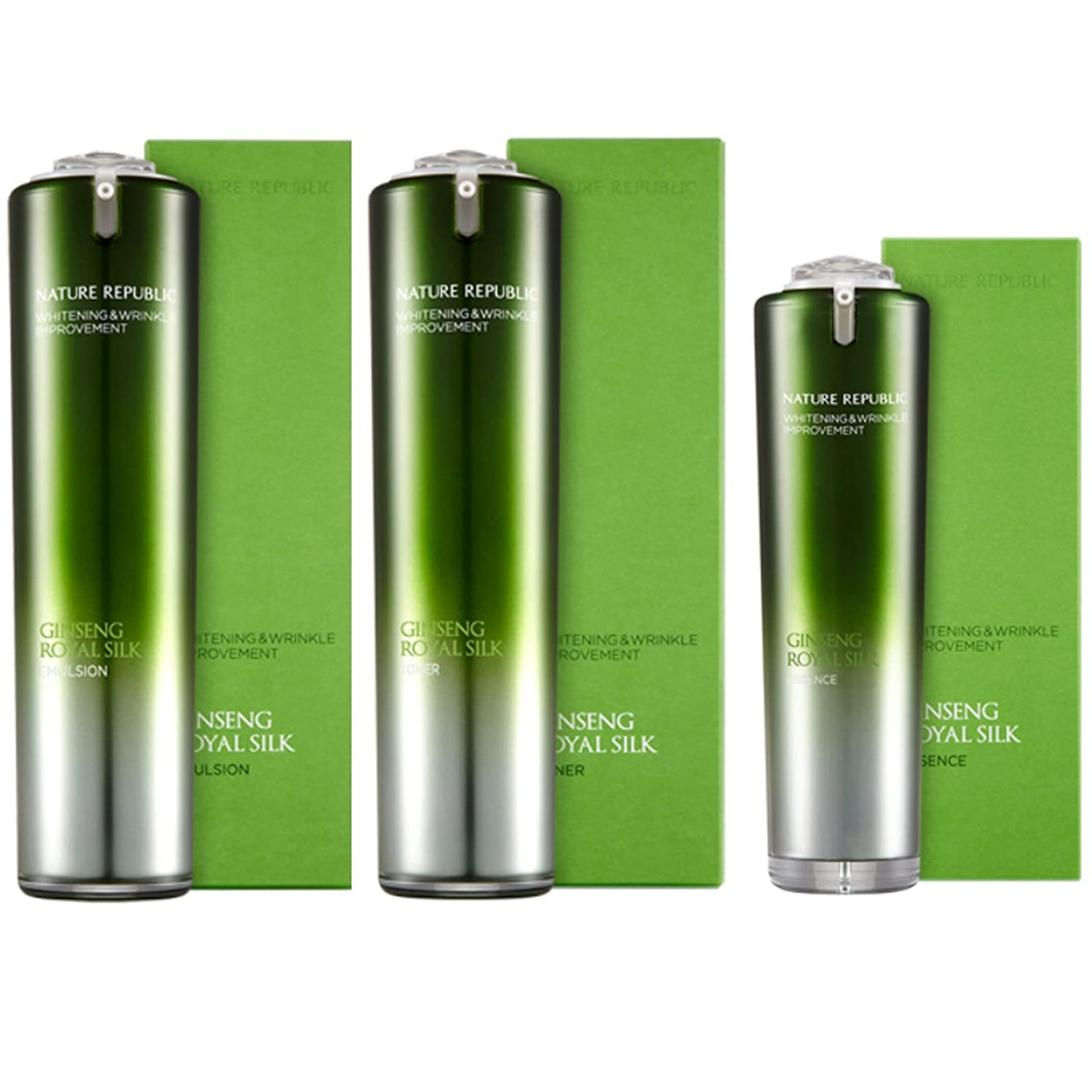 騒乱拮抗露[韓国 Nature Republic] Nature Republic Ginseng Royal Jelly Silk トナー 乳剤 エッセンス セットゴールドホワイトニングリンクルしっとり弾力性改善 (Nature Republic Ginseng Royal Jelly Silk Toner Emulsion Essence Set Gold Whitening Wrinkle Moist Elasticity Improvement) [並行輸入品]