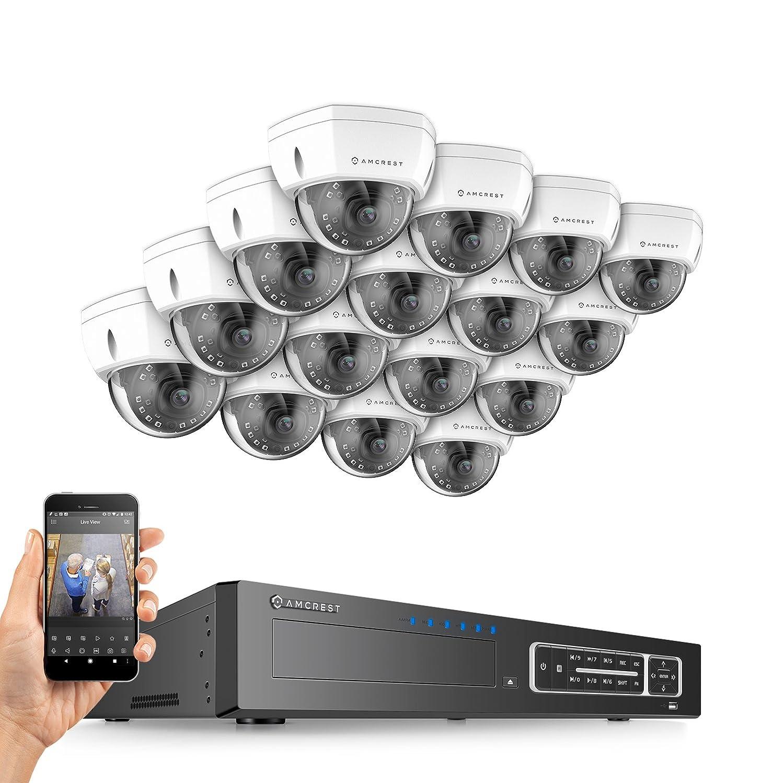 Amcrest 4MP Security Camera System, w/ 4K 32CH (16-Port PoE) NVR, (16) x 4-Megapixel 3.6mm Wide Angle Lens Weatherproof Metal Dome POE IP Cameras, NV4432E-HS-IP4M-1028EW16 (White)