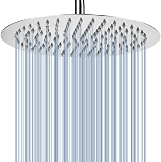 Voolan 12'' Rain Shower Head, High Flow Large Bath Shower Made of 304 Stainless Steel, Universal Wall and Ceiling Mount (Round)
