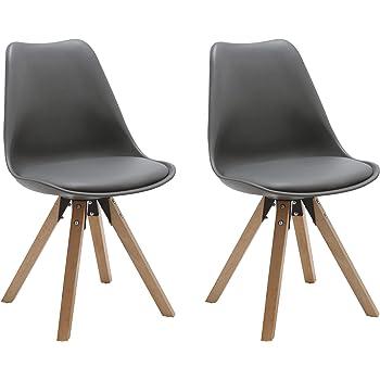 Duhome 2er Set Stuhl Esszimmerstühle Küchenstühle Farbauswahl mit Holzbeinen Sitzkissen Esszimmerstuhl Retro 518M, Farbe:Grau 1, Material:Kunstleder
