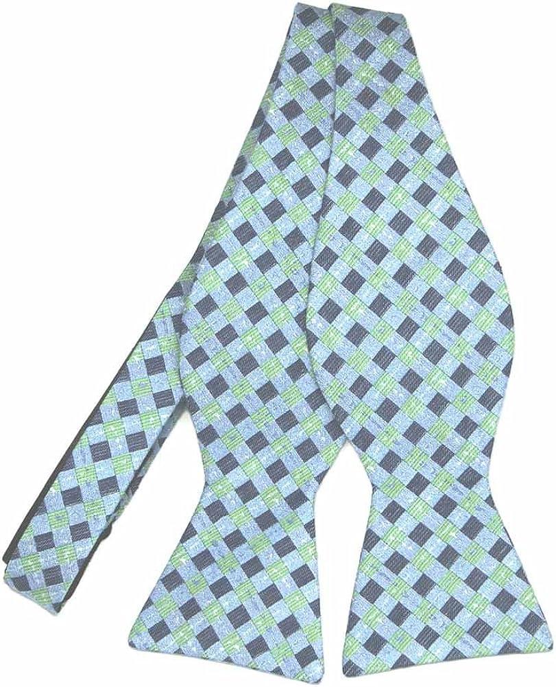 TieMart Regent Morris Neckwear Light Blue Patriarch Plaid Linen/Silk Self-Tie Bow Tie