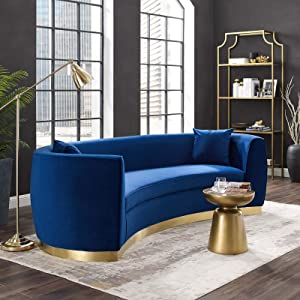 Modway Resolute Retro Modern Curved Back Upholstered Velvet with Two Throw Pillows, Sofa, Navy