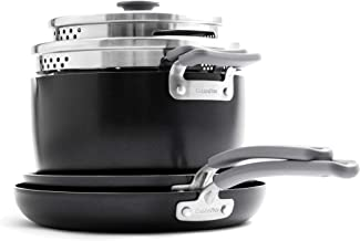 GreenPan Levels Essential Stackable Ceramic Cookware Set, Pots and Pans, 6-Piece, Black