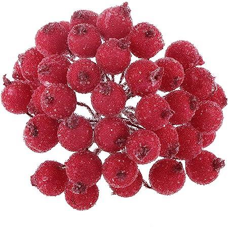 200pcs El Mini Navidad Helado De Fruta De La Baya Del Acebo De La Flor Artificial De La Decoración Roja Amazon Es Bricolaje Y Herramientas
