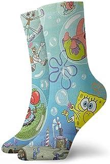Bigtige, Calcetines de hombre para hombre Bob Esponja y Calamardo Tentáculos Calcetines de compresión de pintura Calcetines de vestir con cojín fresco