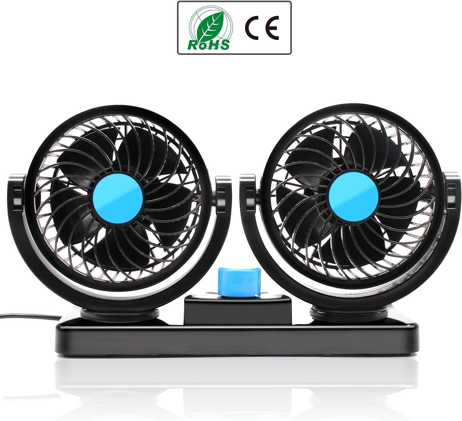 Ventilador para coches Almondcy de 2 velocidades ajustables, con sistema de doble cabeza, rotación de 360 grados, 12 V, refrigeración automática