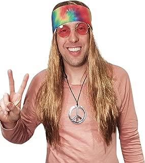 Hippie Wig Costume with Tie Dye Bandana 60s 70s Hippy Woodstock Festival Gear
