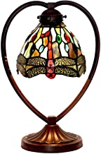 7 Inch Retro Dragonfly Table Lamp Tiffany Style Stained Glass Desk Light with Zinc Alloy Base for Living Room Bedroom Cafe...