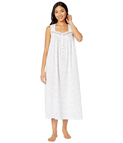 Eileen West Cotton Lawn Woven Sleeveless Ballet Nightgown (White Ground/Floral/Stripe) Women