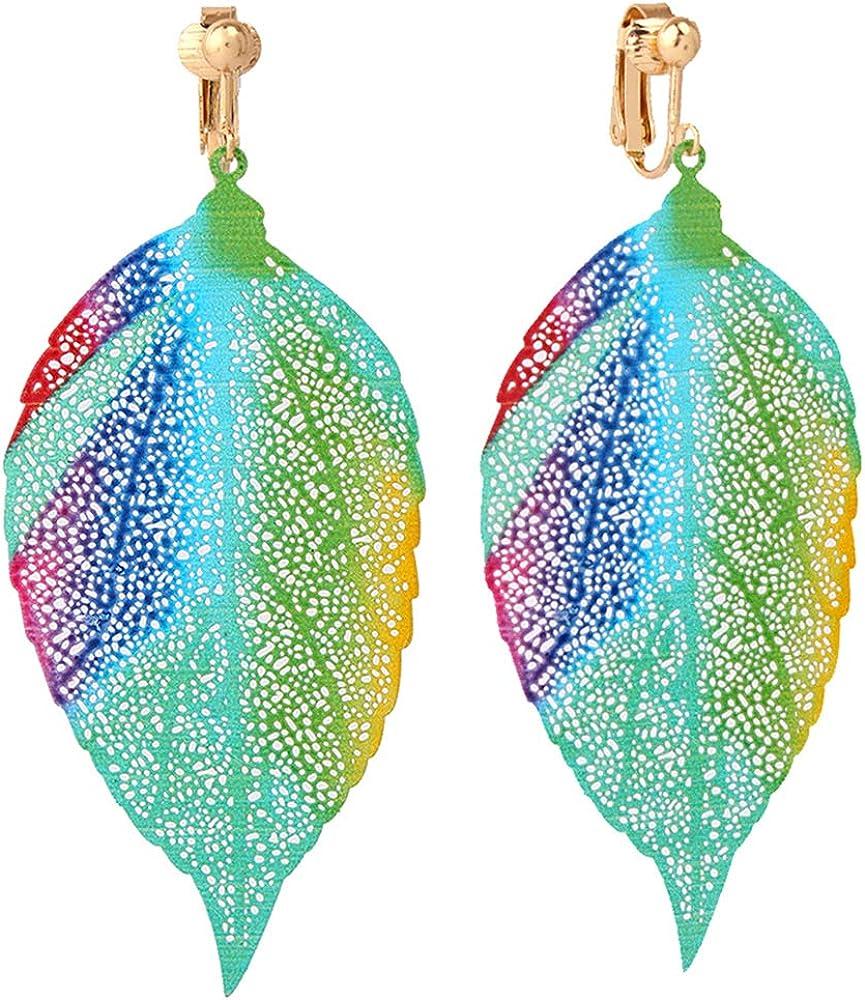 HAPPYAN Enamel Colorful Clip On Earrings for Women & Clip-Ons Lightweight flower Leaf Dangle No Pierced Earrings