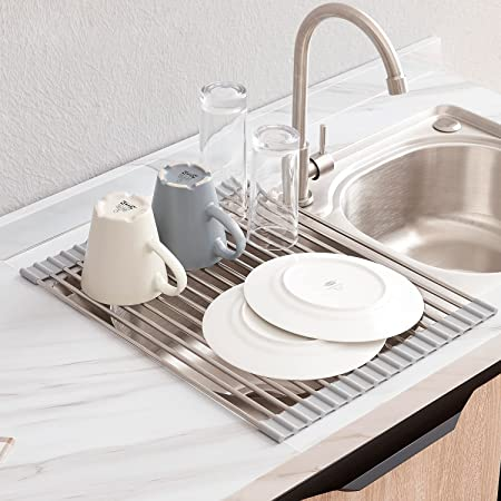 LIMNUO Roll Up Dish Drying Rack, Over The Sink Dish Drying Rack Kitchen Rolling Dish Drainer Foldable SUS304 Dish Drying Rack for Kitchen Sink Counter (20.5''x13.2'')