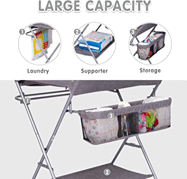 Kinfant Baby Changing Table Folding Diaper Station Nursery Organizer for Infant