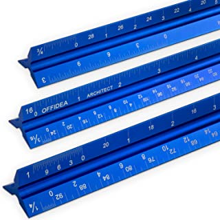 Offidea Architectural Scale Ruler 12 inch, Aluminum Architect Scale (Imperial), Triangular Scale, Scale Ruler for Blueprints, Architect Ruler, Drafting Ruler, Metal Scale Ruler, Architecture Ruler