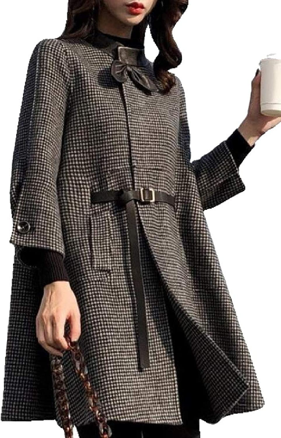 Maweisong Women's Houndstooth Winter A Line Wool LongSleeves Coats