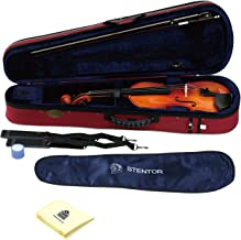 Stentor 1500-4/4 Violin Student II Outfit 4 String Violin (Made from quality tonewoods) Hand Crafted with Fine Grained Solid Spruce Top with Zorro Sounds Violin Polishing Cloth - stentor violin 4/4