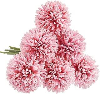 CQURE Artificial Flowers, Fake Flowers Silk Plastic Artificial Hydrangea 6 Heads Bridal Wedding Bouquet for Home Garden Party Wedding Decoration 6Pcs (Deep Pink)