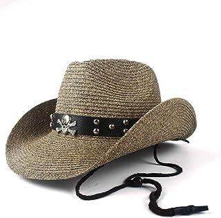 SRY-Hat 12 Style Women Men Straw Empty Westerly Cowboy Hat Summer Lady Gentleman Beach Sombrero Hombre Panama Cowgirl Jazz Sun Cap Size 56-58CM Personality & Fashion