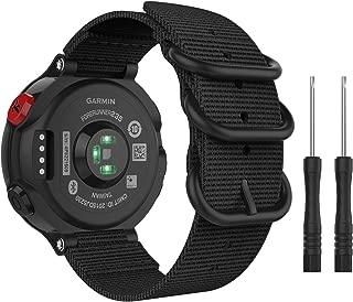 ガーミン235j バンド ATiC Garmin Forerunner 235j ベルト ナイロン製 腕時計ストラップ/ベルト スマートウォッチ 交換用バンド (Garmin ForeAthlete 220/230/235/620/630/735/235 Liteにも対応)Black