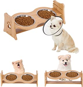 Elevated Dog Bowls Adjustable Raised Dog Bowls Pet Food and Water Bowl with Adjustable Bamboo Stand,Small Tilted Raise Dog Bowl Holder Pet Slow Feeder for Cats and Dogs.