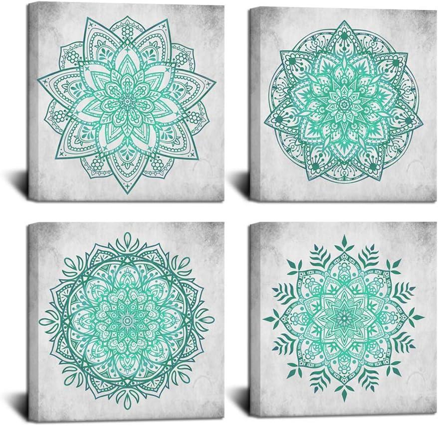 HOMEOART Boho Wall Art Teal and Fort Worth Mall Flower Ranking integrated 1st place Mandala Bohemian Gray Pai