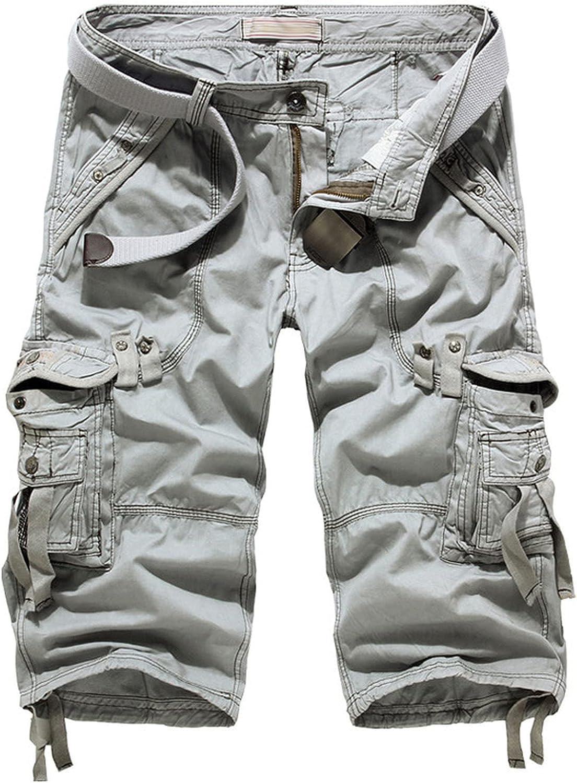 B dressy Summer Cargo Shorts Men Casual Workout Military Multi-Pocket Calf-Length Short Pants-Light Grey-36