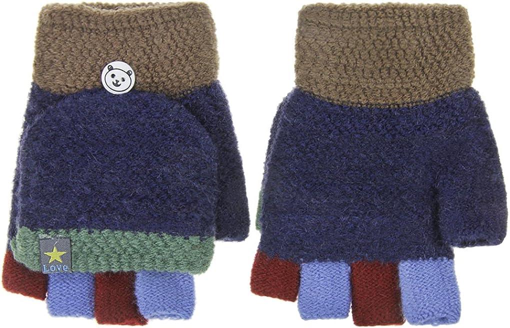 Kids Winter Warm Fingerless Gloves Boys Girl Half Finger Flip Gloves knit Mitten