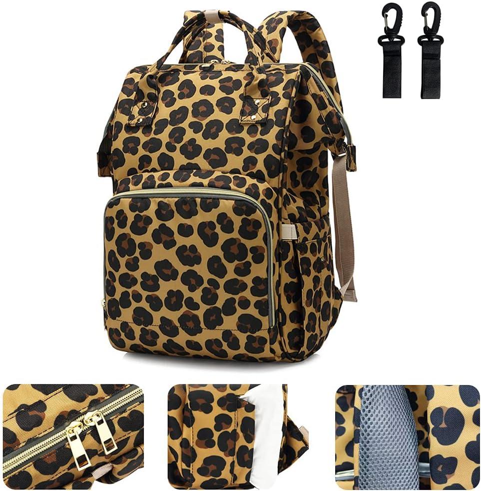 Leopard Printing Diaper Bag Large Capacity Water Resistant Nursing Backpacks Nappy Bags for Mom (Brown)