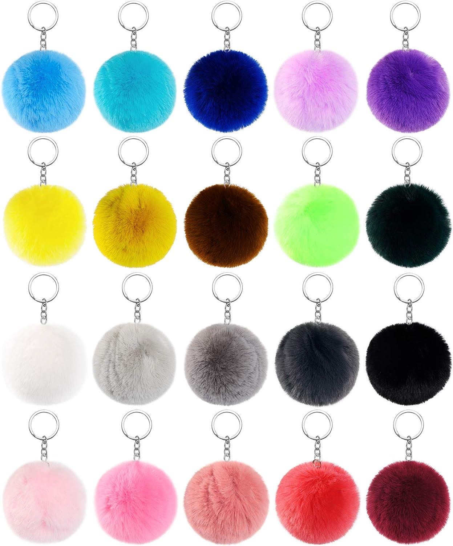 JOYYPOP 20 Pcs Pom Poms Keychains Fluffy Puff Ball Keychain Faux Rabbit Fur Ball Keychain for Girls Women (Mix Colors)