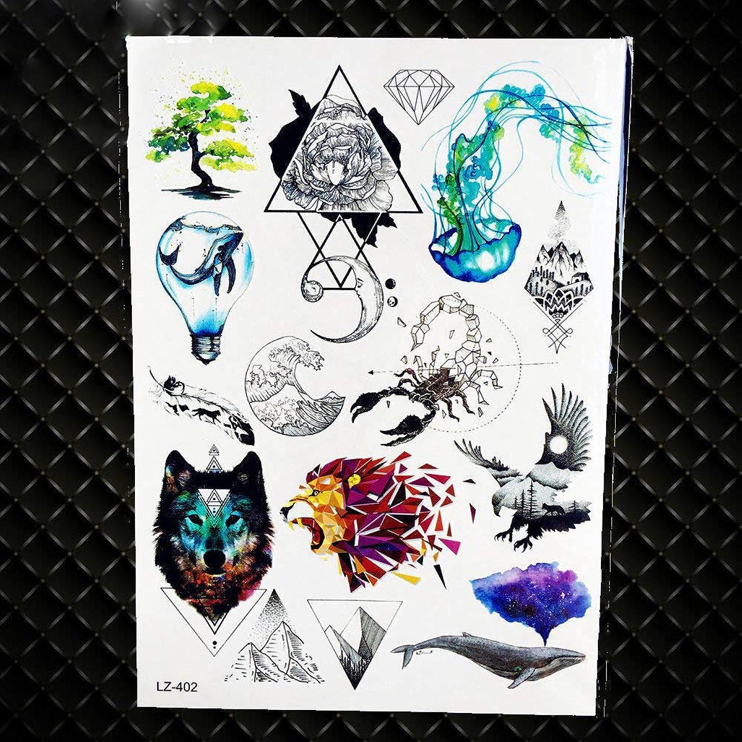 Arm Tattoo Stickers Women Body Temporary Tattoo Men Fashion Geometric Totem Fake Chest Tatoo Triangle Wolf GLZ402