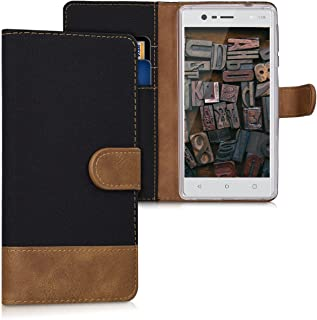 kwmobile Wallet Case for Nokia 3 - Fabric and PU Leather Flip Cover with Card Slots and Stand - Black/Brown