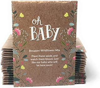 Oh Baby - Baby Shower Seed Packet Party Favors - Boy or Girl - Individual Bouquet Wildflower Mix - Ready to Give - Pack of 20
