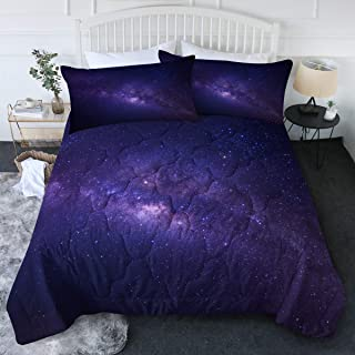 BlessLiving King Galaxy Comforter Set Among Stars in The Blue and Purple Space Bedding Sets with Comforter Galaxy Themed G...