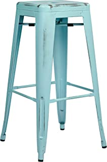 Office Star Bristow Antique Metal Barstool, 30-Inch, Antique Sky Blue, 4-Pack