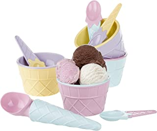 CRYSTALIA Ice Cream Dessert Sundae Bowls, BPA-Free Plastic Reusable Ice Cream Cups, Spoons and a Scoop with Comfortable Ha...