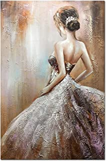 Boiee Art,24x36inch Sexy Dancing Girl's Back Hand Painted on Canvas Wall Art Modern Artwork Abstract Oil Paintings Figure Fine Art Wood Inside Framed Ready to Hang for Living Room
