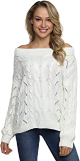 PrettyGuide Women's Off The Shoulder Sweater Chunky Cable Knit Oversized Slouchy Pullover Tops