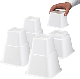 Define Essentials Heavy Duty Multi Height Bed Risers and Bed Lifts - Adjustable to 8, 5 or 3 Inch Heights (White)