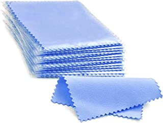 HaiWess 100 Packs Jewelry Cleaning Cloth Packed Individually Blue Polishing Cloth for Sterling Silver Gold Platinum Small ...
