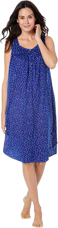 Dreams & Co. Women's Plus Size Pintuck Cooling Sleeveless Sleepshirt Nightgown
