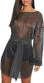 Gabrine Women Sexy Sequin Backless Short Sleeve T-Shirt Dress