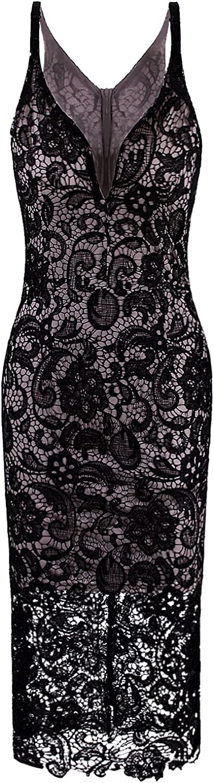 VIJIV Women's Elegant Popularity V Neck Spaghetti Embro Crochet Lace Ranking TOP5 Straps