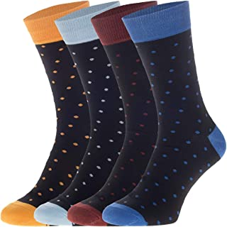 Juego de 4 calcetines, diseño de lunares, color negro