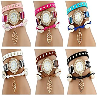 CdyBox Womens PU Leather Band Rivet Wrist Watches Handmade Braided Girls ...