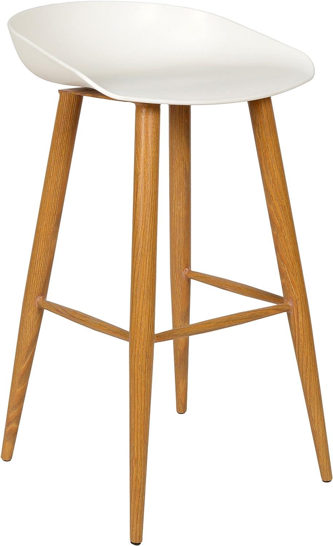 Ts-ideen Design Klassiker Barhocker Stuhl Retro 50er Jahre Barstuhl Küchenstuhl Esstisch Stuhl Bistrostuhl Wohnzimmer Sitz wei Hocker Metall Holzoptik
