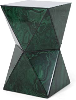 Christopher Knight Home Larry Tempered Glass Hourglass Side Table, Malachite Finish