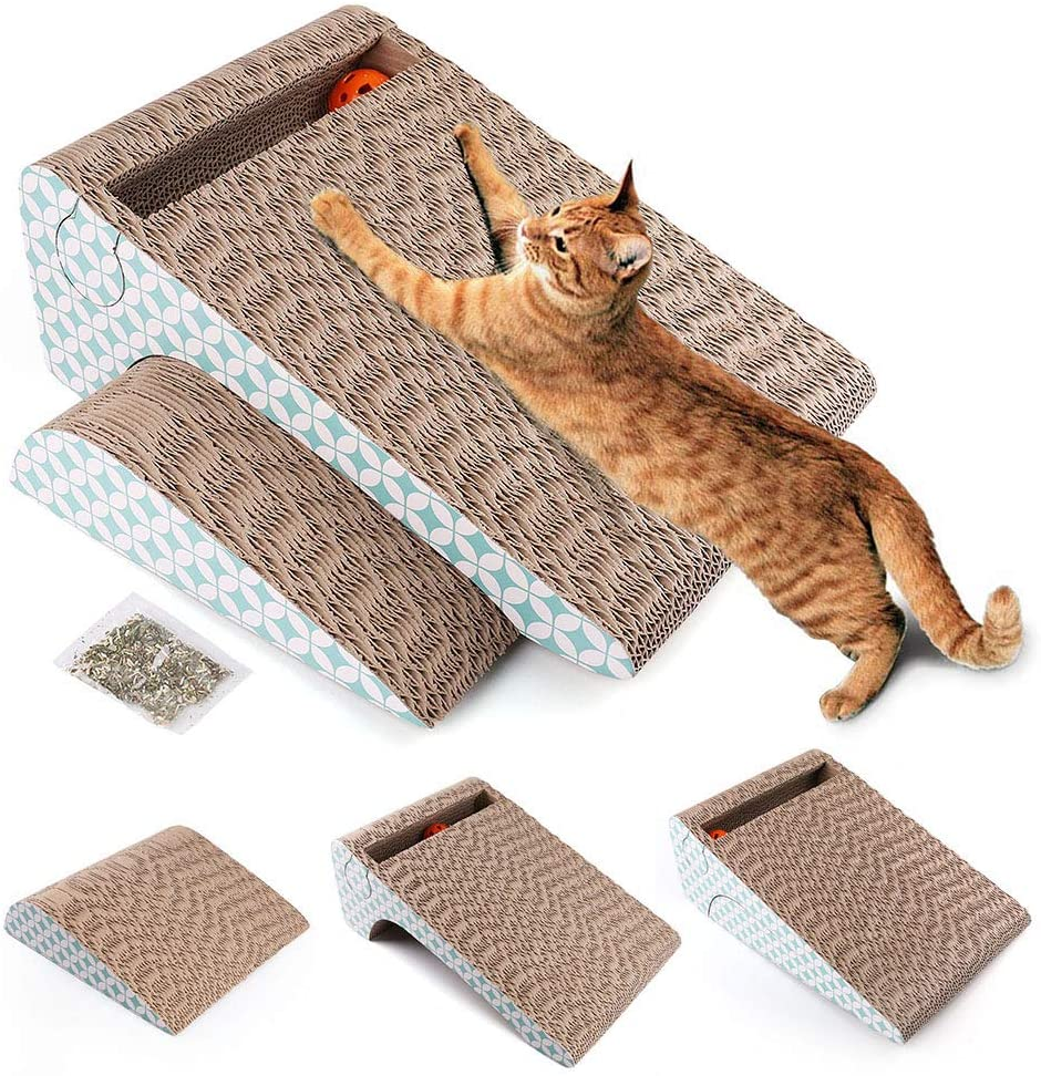 PrimePets Cat Scratcher Cardboard, Removable Cat Scratching Pad with Ball, 2-in-1 Corrugated Cat Scratch Lounge Sofa Refill(Catnip Included) : Pet Supplies